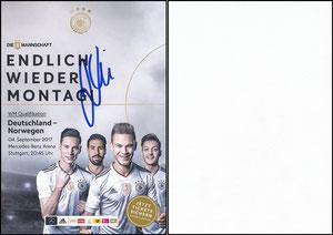 DFB, 2017, Ankündigungskarte Deutschland-Norwegen, signiert Kimmich im April 2019