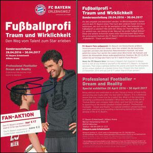 Bayern Erlebniswelt, 2016, 'Fußballprofi, Traum und Wirklichkeit', Flyer  'Fan-Aktion', signiert Müller im Aug. 2018