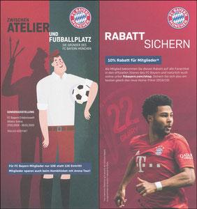 Bayern Erlebniswelt, 2019, 'Zwischen Atelier und Fußballplatz', Zudruck 'Mitglied-Rabatt', versandt mit Mitgliedsausweis