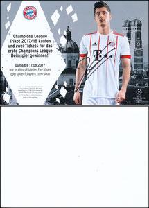 FanShop, 2017, Lewandowski CL-Trikot, A5, signiert Lewandowski im März 2019