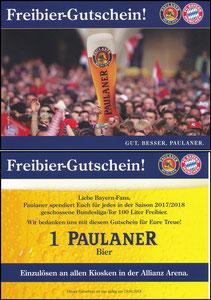 Paulaner, 2018, Freibier-Gutschein