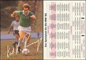 Rummenigge, 1982, Spielplan WM