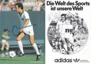 Beckenbauer, 1978, Cosmos NY, Adidas 'Die Welt des Sports ist unsere Welt', Dank an SF Norbert