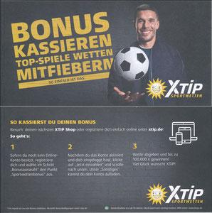 Podolski, 2018, XTip 'Bonus kassieren - Top-Spiele wetten - mitfiebern'