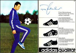 Beckenbauer, 1968, Adidas 'Weltberühmt durch Qualität', Motiv 4c, rücks. Druck-AG