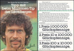 Breitner, 1978, Leonberger 'Gewinnspiel', bei Eintracht Braunschsweig, Klappkarte - Komplette Klappkarte gesucht!