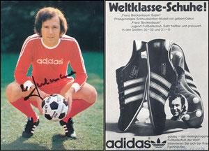 Beckenbauer, 1974, Adidas 'Weltklasse Schuhe' OHNE Druck-Autogramm