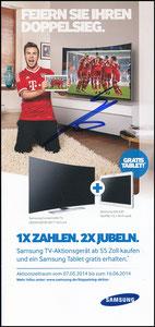 Götze, 2014, Samsung TV, Klappflyer, signiert Götze im Febr. 2019