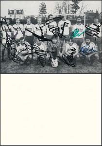 Mannschaftskarte 1986, 'Portas Alt-Internationale', A5 Aushang-Bild, kpl. signiert