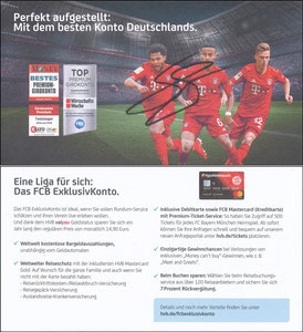 Hypovereinsbank,2019 'FCB Exclusiv-Konto', sign. Gnabry im Nov. 2019