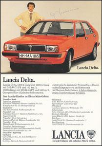 Beckenbauer, 1980, Lancia, rücks. 'Lancia-Händler im Großraum Hamburg'