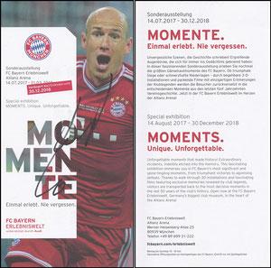 Bayern Erlebniswelt, 2018, 'Momente', Verlängerungs-Flyer Robben, signiert Robben im Febr. 2019