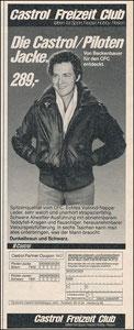 Beckenbauer, 1979, Castrol 'Freizeit Club', Zeitungswerbung
