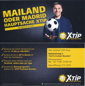 Podolski, 2018, XTip 'Mailand oder Madrid - Hauptsache XTip', Graben-Neudorf, REGINALKARTE