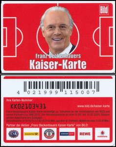Beckenbauer, 2010, Kaiser-Karte, Kundenkarte