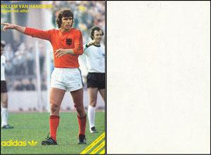 Beckenbauer, 1974, Adidas, mit Willem van Hanegem, Niederlande,  Rückseite WEISS