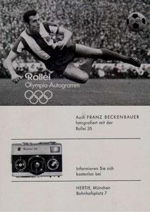 Beckenbauer, 1972, Rolley Olympia, Dank an SF Norbert