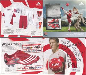 Schweinsteiger, 2008, Adidas, F50 TunIt, Klappkarte
