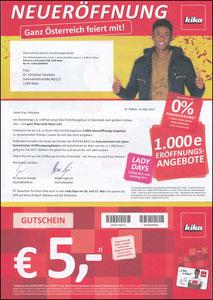 Alaba, 2017, Kika, Werbeanschreiben zum Gutscheinheft 05'2017