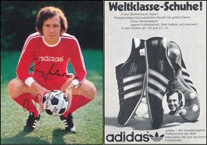 Beckenbauer, 1974, Adidas 'Weltklasse Schuhe', MIT Druckautogramm