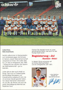 DFB, 1990, Mannschaftskarte Adidas, 'Mätthäus gegen Randale'