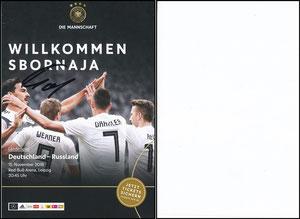 DFB, 2018, Ankündigungskarte 'Deutschland-Russland', blanko Rückseite, signiert Hummels