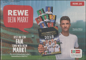 Müller, Thomas, 2018, REWE Sammelkarten-Aktion zur  WM, A4 Werbebeilage