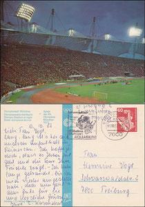 Postkarte 1972, Olympiastadion München, Olympische Spiele, Arco-Karte