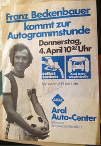 Beckenbauer, 1972, Aral Autocenter München, Dank an SF Norbert