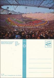 Postkarte, 1972, Olympiastadion München, 'Eröffnungsfeier', Witzig-Karte