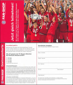 FanShop, 2015, Klappkarte, sign. Müller im Nov. 2019
