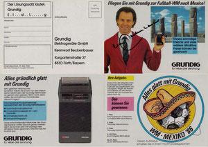 Beckenbauer, 1986, Grundig, Klappkarte, Dank an SF Norbert