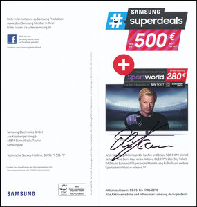 Kahn, 2018, Samsung 'Superdeals', Klappflyer, signiert Kahn im Febr. 2019