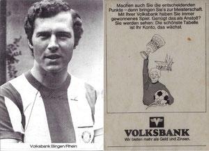 Beckenbauer, 1972, Volksbank Bingen, Dank an SF Norbert