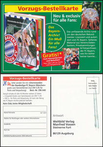 Postkarte, 1999, Bayern München, Weltbild-Verlag, 'Sternstunden der Bundesliga'