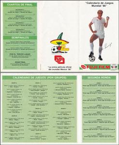 Rummenigge, 1986, Fuji, Spielplan-Flyer WM 1986 aus Mexiko
