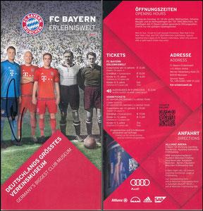 Bayern Erlebniswelt, 2016, Flyer, signiert Neuer im Aug. 2018