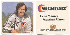 Beckenbauer, 1974, Vitamalz, Bierdeckel, Druck-AG