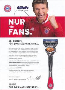Müller, Thomas, 2018, 'Gillette' Gutschein, A4, signiert Müller