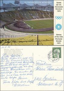Postkarte, 1972, Olympiastadion, Olympische-Spiele, Witzig-Karte