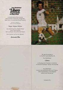 Beckenbauer, 1973, 'Libero, der Film', Einladungs-Klappkarte, Dank an SF Norbert