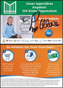 Maier, 2014, P&G, 'Marktkauf', Regalanhänger, signiert Maier im Jan. 2019