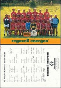 Mannschaftskarte 1985, Regazell (kompl. signiert)