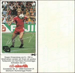 Rummenigge, 1982, Fuji, Aufkleber 2, kpl. mit Anhang, Dank an SF Michael