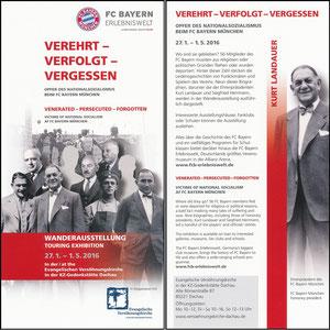 Bayern Erlebniswelt, 2016, 'Verehrt, verfolgt, vergessen', Flyer