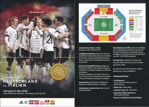 DFB, 2020, Ankündigungskarte 'Deutschland - Italien'