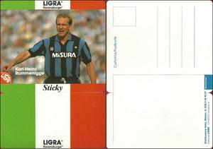 Rummenigge, 1984, Ligra, ital. Postkarten-Aufkleber, Dank an SF Michael