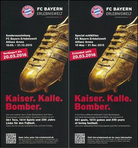 Bayern Erlebniswelt, 2015, 'Kaier, Kalle, Bomber', Verlängerungs-Flyer