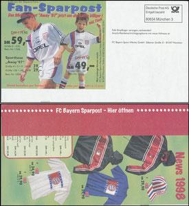 """FanShop, 1998, frühe """"Fansparpost"""" aus den Anfängen des Merchandising-Versandes"""