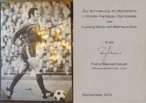 Beckenbauer, 1972, 'Kinder-Fantasie-Olympiade München', Dank an SF Norbert